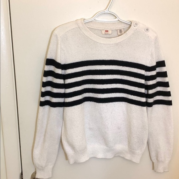 Levi's Sweaters - Women Levi's Black/White striped Button Sweater